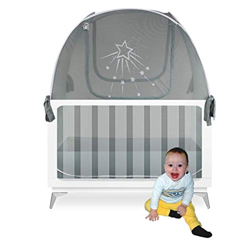 Aussie Cot Net Baby Crib Safety Tent - Silver Star Premium Crib Tent to Keep Baby from Climbing Out - See-Through Silver Grey Crib Mosquito Netting - Popup Toddler Proof Crib Tent Nets