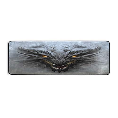 ALARGE - Alfombrilla antideslizante para el piso de cocina, diseño tribal de dragón para sala de estar, pasillo, dormitorio, baño, entrada, interior y exterior, lavable, 2 x 6 pies