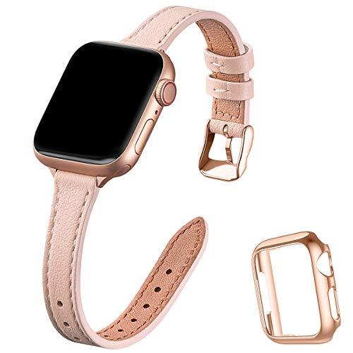 STIROLL - Correa de piel fina compatible con Apple Watch de 38 mm y 40 mm, correa fina de cuero de grano superior para iWatch Series 5/4/3/2/1 (rosa pálido, 38 mm/40 mm)