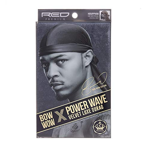KISS RED Premium Bow Wow Power Wave Velvet Luxe Durag (HDUPPV08 - Chacoal Grey)