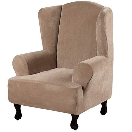 BHAHFL Gänsedaunentiger Hockerbezug Amerikanischer hochelastischer einfarbiger Stuhlbezug voll verdickt superweicher Tiger Stuhlbezug Wing Chair Slipcover Stretch Wingback Armchair Chair,Leather color