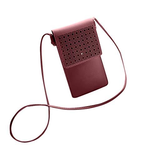 Universal Handy Umhängetasche, 2 in 1 Doppelschicht Handtasche Geldbörse Handy Tasche PU Leder Touchscreen Funktion Leder Mobile Bag Protective Case Handy Tasche mit Straps (Rot)