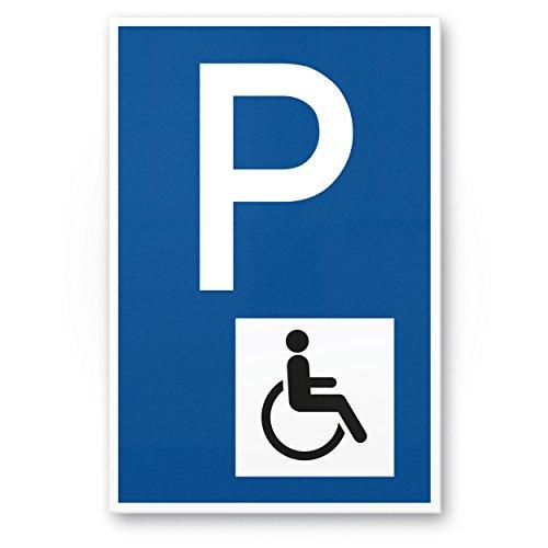 Parkplatz Behinderte, Behindertenparkplatz Kunststoff Schild (blau, 20 x 30cm), Hinweisschild, Parkplatzschild Reserviert - Rollstuhlfahrer, Parkplatz freihalten Körperbehinderte