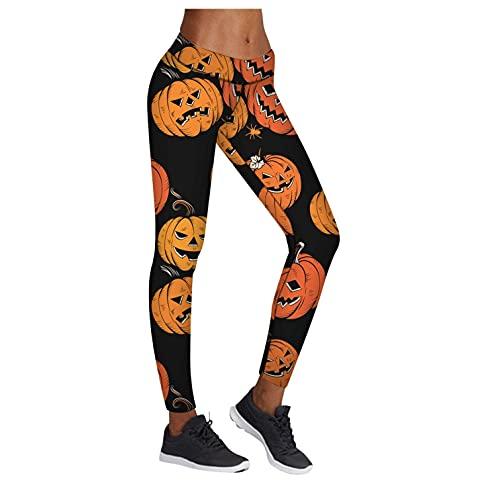 BIBOKAOKE Yoga Leggings Damen Halloween Kürbis Totenkopf Print Yogahose Damen Lang High Waist Stretch Bleistifthose Trainingshose Running Workout Sportleggins Blickdichte Sporthose