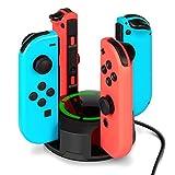 Dock de carga para controles Joy-Con de Nintendo Switch, NesBull soporte de carga 4 en 1 para controles Joy-Con de la consola Switch, con indicadores de luz LED