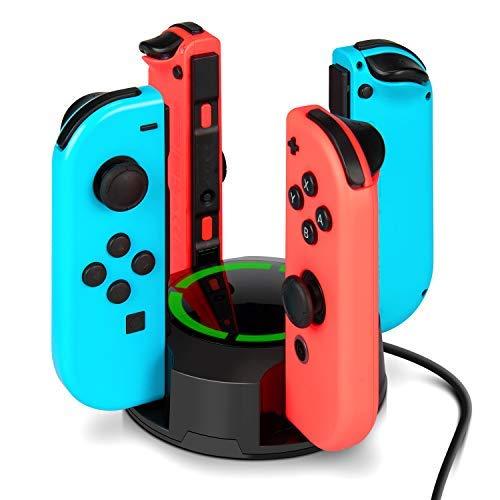 Dock de carga para controles Joy-Con de NS Switch, innoAura soporte de carga 4 en 1 para controles Joy-Con de la consola Switch, con indicadores de luz LED