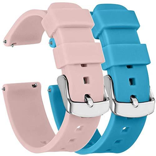 Fengyiyuda 2 Piezas Correa Reloj 22mm,Correa Reloj Compatibles con Gear S3 Frontier, Galaxy Watch 46MM SM-R800/ Gear S3 Frontier/Classic,Rosa Claro/Azul Claro
