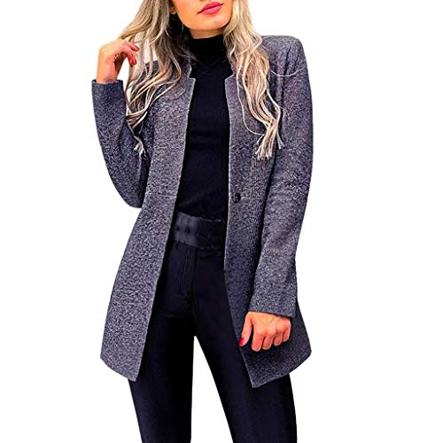 Trajes Mujer Invierno Otoño 2019 SHOBDW Liquidación Venta Abrigos Mujer Elegantes Color Sólido Chaqueta Mujer Solapa Cardigan Mujer Largos Rebajas Casual Blazers Mujer Slim Fit(Armada,M)