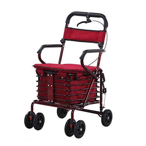 WXDP Selbstfahrend Einkaufswagen Alter Einkaufswagen Einkaufswagen Multifunktions-Einkaufswagen Sitzender Push-Pedal Einkaufswagen Stoßdämpfer + Seitenbremse