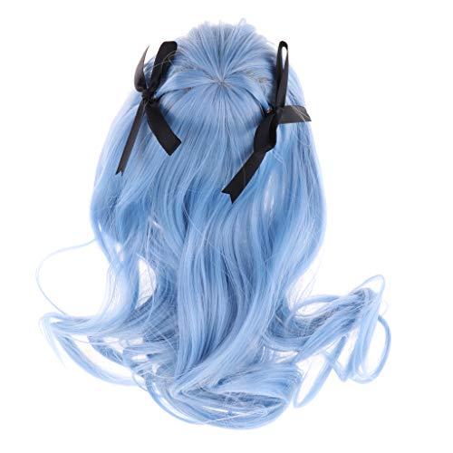 non-brand Larga Peluca Rizada con Fleco para 1/3 Bjd Muñeca Dos Colores Azul