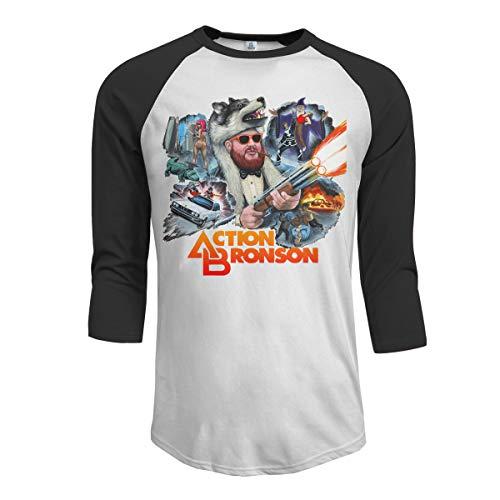 JeremiahR Action Bronson Men's 3/4 Sleeve Raglan Baseball T Shirt Black S