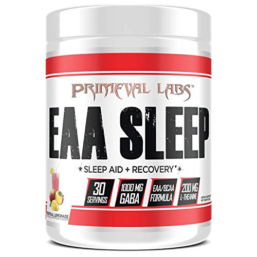 Primeval Labs EAA Sleep, Recovery and Sleep Aid, Amino Acid Recovery, Improves Sleep and Rest, Better Muscle Growth, Enhanced Mitochondrial Function, Tropical Lemonade, 30 Servings