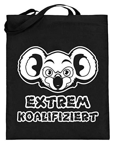Chorchester Ideal für Koala und Tier Fans - Jutebeutel (mit langen Henkeln) -38cm-42cm-Schwarz