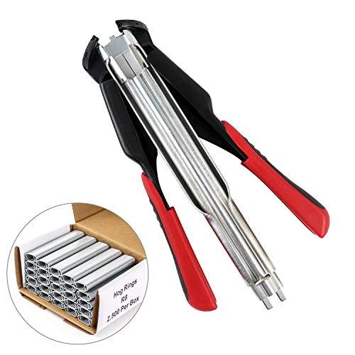 QWORK Hog Ringzangen-Kit C-Typ Clip Befestigungsklemme Installationsausrüstung Werkzeug mit 2500 Stück C-Type Hog Ringe für Tierzaunmatratzen Autokissen