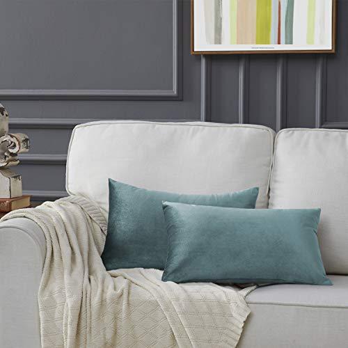 Gigizaza Gris Azul Terciopelo Almohada Cubre Caso Suave decoración Fundas de de cojín para sofá Dormitorio Coche Cama Casa Decor 30x50cm ,Pack de 2
