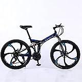 Bicicleta De Montaña, Marco De Acero De Alto Carbono 24/26', 21/24/27 Velocidades, con Suspensión Delantera, Freno De Disco, for Hombre Mujer Adulto,B21 Speed,24'