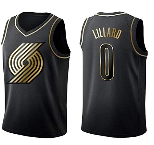 llp Damian Lillard Jersey Mens # 0 Portland Trail Blazers Men's Basketball Jersey Transpirable Sin Mangas Chaleco Fan Training T-Shirt Black and Gold Jersey (Size : X-Large)