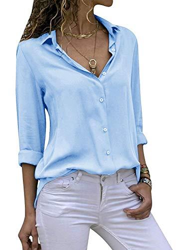 ASKSA Damen Bluse Chiffon Elegant Langarm Oberteile Einfarbig V-Ausschnitt Lose Hemdbluse T-Shirt Tops