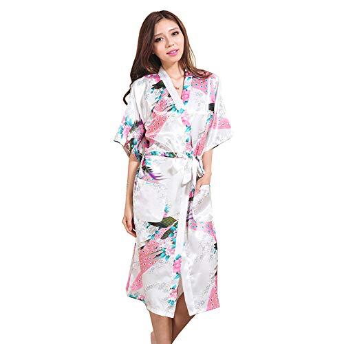 Larga Ligera Verano Pijama De Seda Fina De Novia Traje De Las Señoras De La Mañana De La Boda Larga Chaqueta Soft Vestir Ducha del Vestido De Ropa Camisones,XL