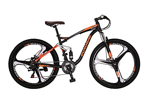 Eurobike EURE7 Mountain Bike 27.5 Inches 3-Spoke Wheels Dual Suspension Mountain Bicycle 21 Speed MTB Orange