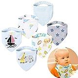 Baogaier Baby Dreieckstuch Lätzchen 6 Set Double Layer Bio Baumwolle Spucktuch Halstücher Saugfähig Drool Neugeborene Lätzchen mit 2 Verstellbares Druckknopf für Kleinkind Mädchen (Giraffe Segelboot)
