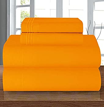Elegant Comfort Luxury Soft 1500 Thread Count Egyptian 4-Piece Premium Hotel Quality Wrinkle Resistant Coziest Bedding Set All Around Elastic Fitted Sheet Deep Pocket up to 16inch Queen Orange