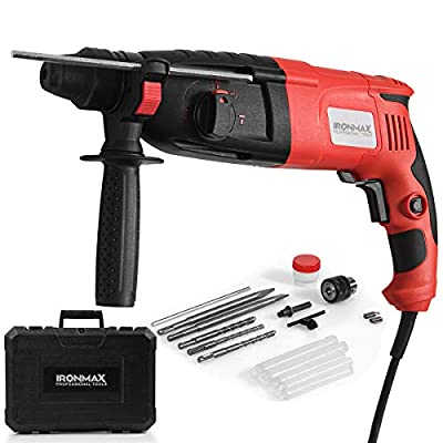 "Ironmax professional tools 1"" SDS-Plus Rotary Hammer Drill, 3 Mode in 1 Electric 9 Amp Corded Drill, with Adjustable Speed, Rotating Handle"