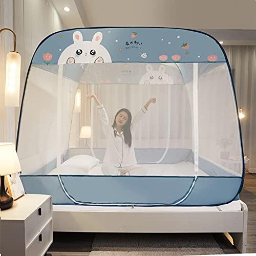 Mosquiteras Emergentes, Dosel Plegable para Cama de Dormitorio Interior Tienda de Cama de Viaje Portátil No es Necesario Instalar,Blue,120 * 195cm