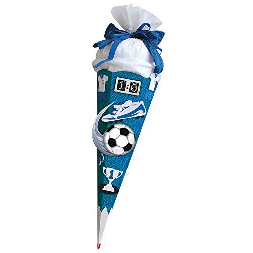 ROTH Schultüten-Bastelset Soccer blau 68cm 6-eckig Rot(h)-Spitze Kreppverschluss