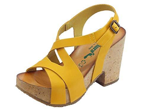BioNatura 36 Rimini Leder Gaucho Gelb Sandalen aus Nubukleder mit hohem Absatz, Gelb - gelb - Größe: 40 EU