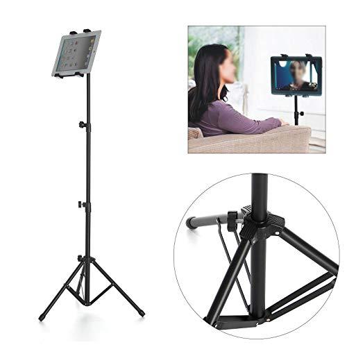 Adjustable Tripod ipad tripod stand Tablet Standselfie stick tripod Floor Mount Stand Gimbal Stabilizer For iPad Mini Tablet Phone (Black)