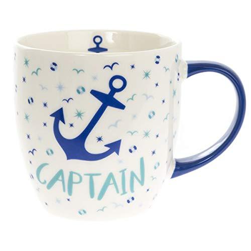 Les Trésors De Lily [Q2789 - Mug Porcelaine 'Captain' Blanc Bleu (Ancre Marine) - 95x90 mm