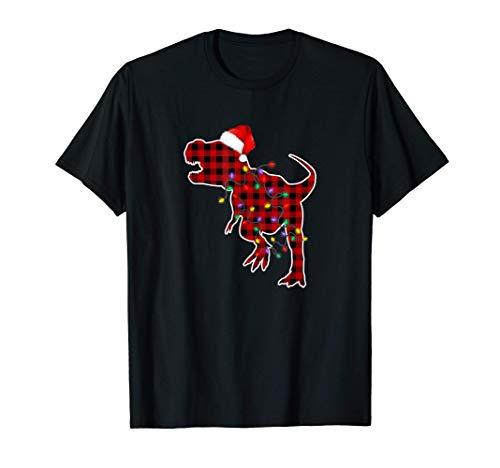 Red Plaid Dinosaur T Rex Christmas Lights Pajamas Adult Kids T-Shirt