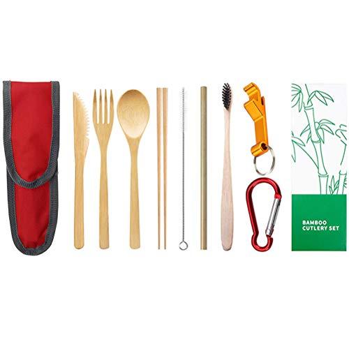 Opplei Bamboe bestek set flip tas herbruikbare bestek reisset draagbare bamboe bestek inclusief rieborstel voor reizigers picknick kantoorschool (karabijnhaak en kurkentrekker)