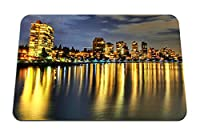 22cmx18cm マウスパッド (建物川反射夜ビーチ) パターンカスタムの マウスパッド