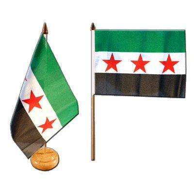 Flaggenfritze Tischflagge/Tischfahne Syrien 1932-1963 / Opposition - Freie Syrische Armee + gratis Aufkleber