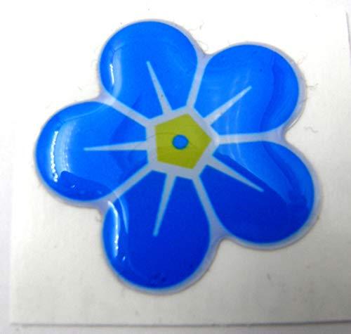 3D Doming Aufkleber Blüte Vergissmeinnicht Blau-gelb-weiß (2er Set)