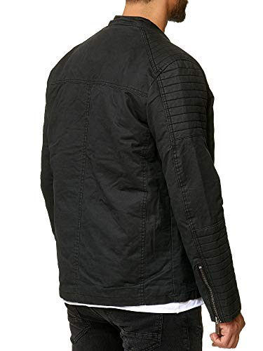 RedBridge Herren Jacke Kunst Leder Biker Geteppt M6013, Größe:M, Farbe:Schwarz 2 - 5