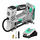 Litheli Air Compressor 20V, Portable Air Compressor, Cordless Tire Pump for Car, Bike, Sport Ball, Battery Tire Inflator, 3 Nozzle Adapters, 150 PSI, with 2.0 Ah Battery & 1 Hour Fast Charger