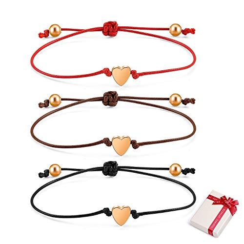 Feelairy 3 Pulseras Amistad Pulseras Amigas Pulseras Corazón para Niños Niñas, Ajustable Pulseras de Cuerda Oro Rosa Brazalete Trenzada Cordón Fina Pulsera Hecha a Mano Regalo para Cumpleaños Navidad