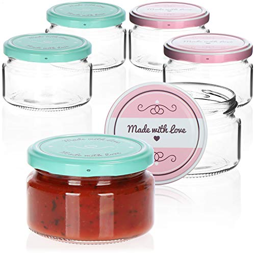 """COM-FOUR® 6x tarros de albañil con tapón de rosca""""Made with love"""" en verde y rosa - hasta Ø 82 mm - hasta 250 ml"""
