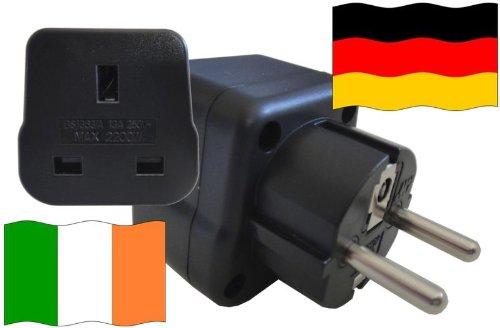 Adaptador de enchufe para Alemania – Adaptador de enchufe de Irlanda con protección de contacto enchufe de viaje