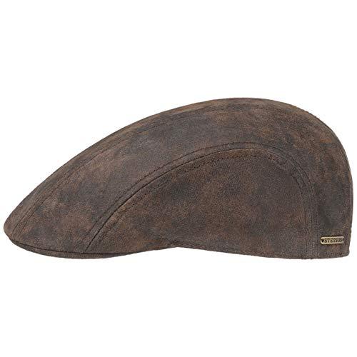 Stetson Madison Leder Flatcap Herren - Ledercap im Vintage-Stil - Schirmmütze mit Innenfutter aus Baumwolle - Mütze Sommer/Winter - Schiebermütze braun XL (60-61 cm)