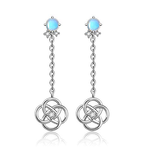Moonstone Celtic Knot Earrings for Women Dangle Round Drop Wire Fashion Sterling Silver Jewelry