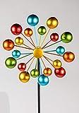 Formano - Windrad für den Garten aus Metall - Windräder Windspiel Windmühle doppelt Rot/Orange/Gelb/Türkis - 124cm Groß