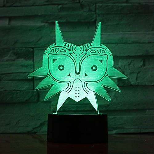 3D Acryl Nachtlicht Legend of Zelda Figur Majoras Maske 3D Lava Lampe Creative 7 Farbwechsel LED Nachtlicht