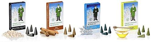 Original Crottendorfer Räucherkerzen - 4 Sorten in einem Set - verschiedene Düfte (Weihnachtlicher Weihrauch, Wintertraum, Zimt,Honig)