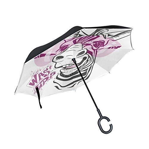 hengpai Zebra - Gafas de color rosa invertidas en el revés para coches, monigue a prueba de viento, resistente a los rayos UV, doble capa para mujer