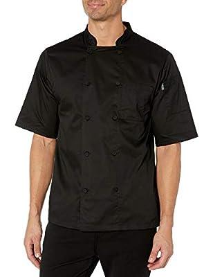 Chef Code Men's Short Sleeve Unisex Cool Breeze Chef Coats, Black, 5X-Large