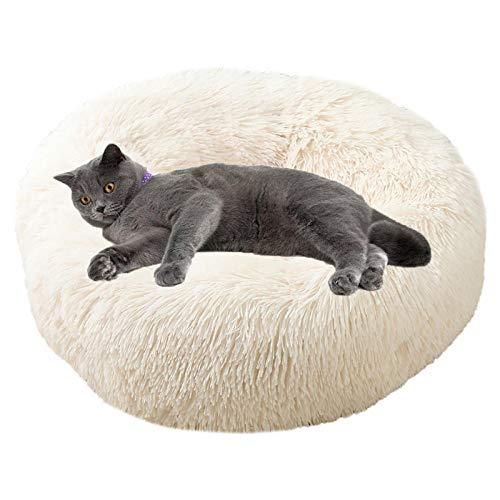 Cama De Mascotas Donut Cama De Perros con Parte Inferior Antideslizante, Cómodo Suave Y Cálida Cama para Mascotas Gatos Y Perros Pequeños (Beige, 80cm De Diámetro)